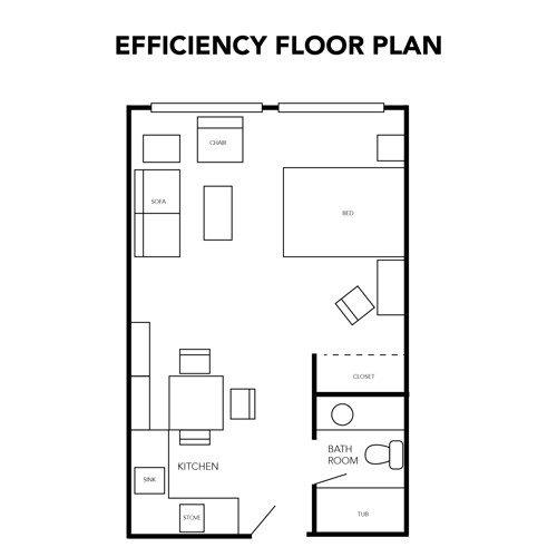 Assisted Living Efficiency Floor Plan