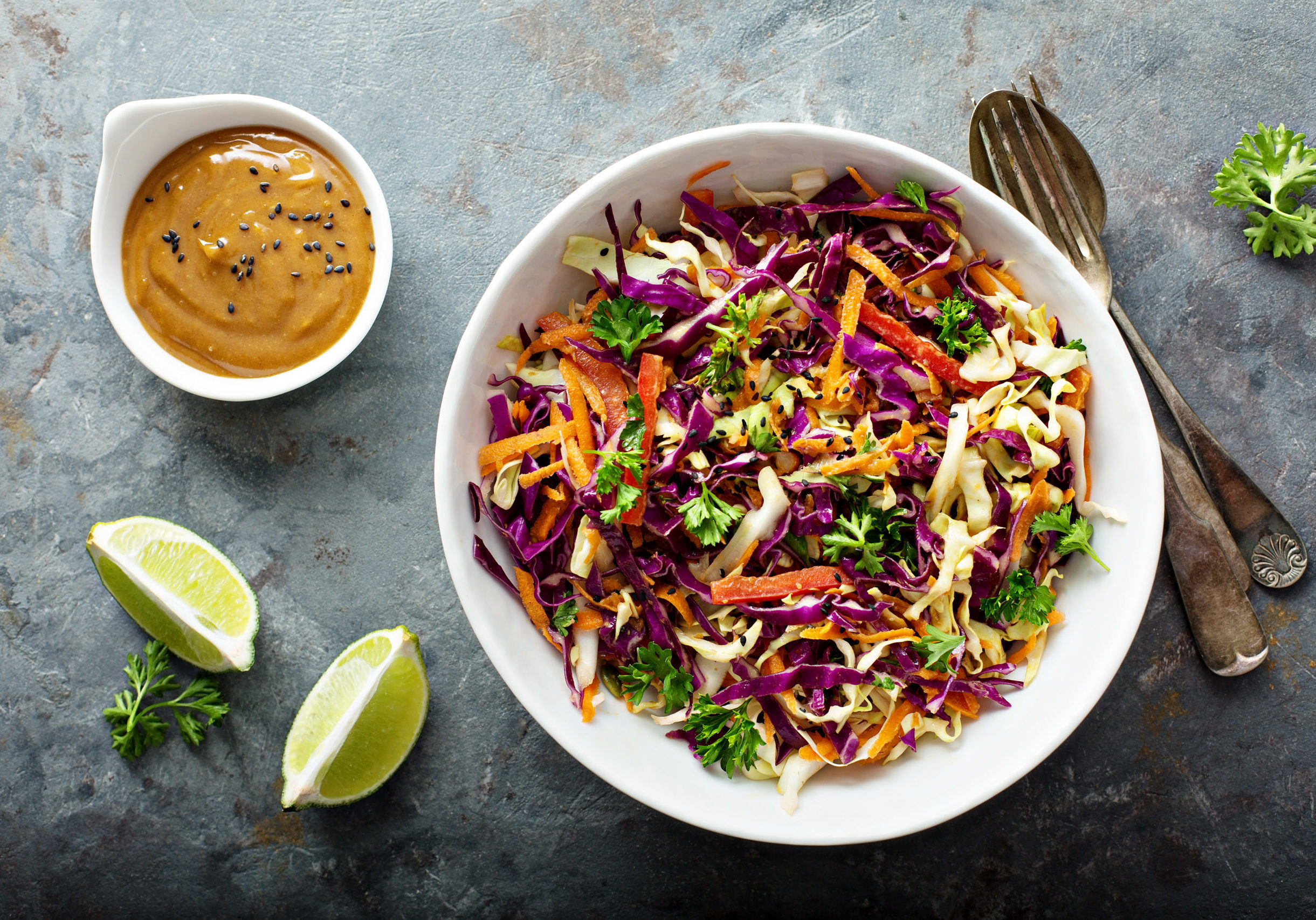 Asian cole slaw with peanut butter dressing