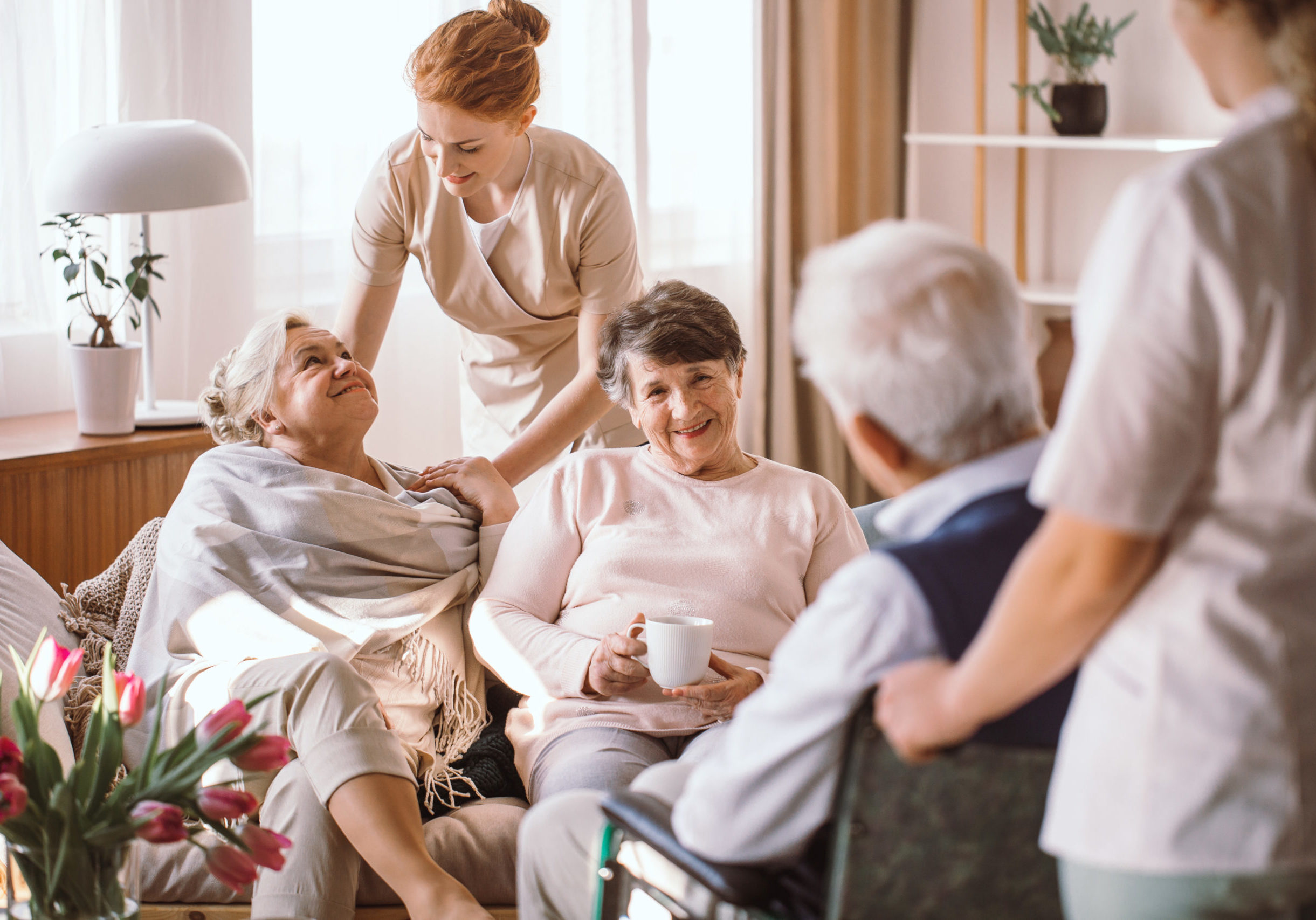caregiver and residents